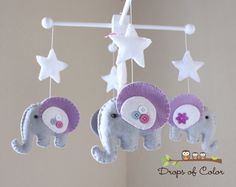 """Baby Crib Mobile - Baby Mobile - Elephant Mobile - Baby Nursery Mobile - """"Rock-a-Bye-Baby Girl Elephant""""(You can pick your colors)"""