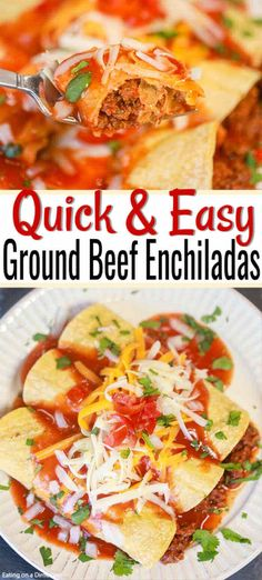 Nutritious Snack Tips For Equally Young Ones And Adults Make This Easy Ground Beef Enchiladas Recipe When You Need A Quick But Delicious Dinner Idea. Get All The Flavors Of Enchiladas In Just Minutes. You And Your Family Will Love How Delicious These Beef Hamburger Enchilada Recipe, Enchilada Casserole Beef, Enchilada Recipes, Beef Recipes, Mexican Food Recipes, Mexican Dishes, Easy Recipes, Dinner Recipes, Mexican Meals