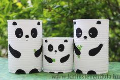 Tin can pandas Diy Crafts Hacks, Diy Home Crafts, Diy Crafts For Kids, Plastic Bottle Crafts, Diy Bottle, Cardboard Crafts Kids, Painted Tin Cans, Painted Plant Pots, Fleur Design