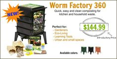 The most amazing worm composter is here! If you've always wanted to try composting - this is the perfect composter. Plus, its odor free and so easy to get started! Worm Factory 360