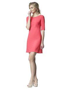 Aerin - koraal - Jersey lycra A-lijn jurk  | LaDress