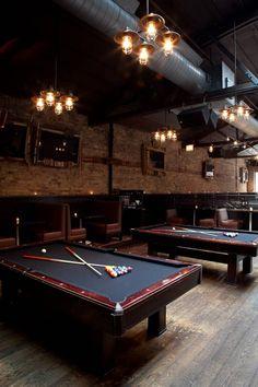 Rockit Bar & Grill Pool Lounge - love the industrial vintage look of this. Bar Lounge, Pool Lounge, Billard Bar, Billard Snooker, Deco Restaurant, Restaurant Design, Jacks Restaurant, Cafe Bar, Sportbar Design
