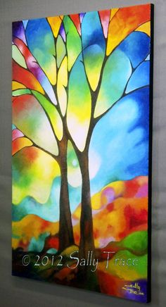 Abstract painting acrylic painting tree art door SallyTraceFineArt