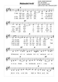 Nebeské kvítí Thing 1, Advent, Sheet Music, Printables, Songs, School, Print Templates, Schools, Song Books