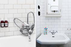 Lovely Byggfabriken bathroom. Pics from @Bolaget Fastighetsförmedling  http://www.byggfabriken.com/sortiment/kakel-och-klinker/kakel-half-tile/info/produkter/310-116-half-tile-brilliant-white/
