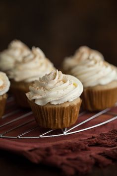 Chai cupcakes made with no refined sugar and topped with a light, maple whipped cream.
