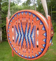 Native American Beaded Bag - *Navajo Beaded Both Sides*-Canteen Style…