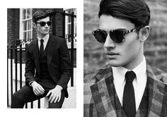 """Michael Knowles at FM & Jordan Goodenough at Models 1 in """"London Calling"""" by Dennis Weber for the Fall Winter 2013-2014 collection of Hardy Amies by creative director Claire Malcolm"""