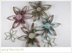 fleurs avec rouleaux papier toilettePapier métier de Claire: noël