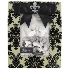 "Green Tree Gallery 5"" x 7"" Black & Off White Fabric Damask MDF Picture Frame with Fleur Bling 