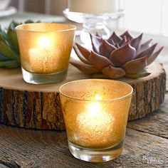 ebfa86c7fa7 Illuminate your home with gold mercury glass-look candle holders. Spray a  light mist
