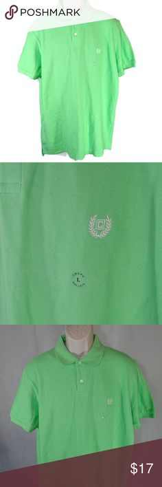 Chaps Pique Polo Shirt Men Size L Green Short Slv ITEM DESCRIPTION:  Chaps Pique Polo Shirt  Men Size: L  Color: green  Pattern: solid  Sleeve Length: short sleeve  Closure: 2 button closure  Fabric: cotton  Made in: India  ITEM CONDITION:  New without Tags  ITEM MEASUREMENTS (Laying flat):  Chest (Armpit to Armpit): 23 in  Shoulder (from shoulder seam to shoulder seam across the back): 20 in  Back Length: 31.5 in Chaps Shirts Polos
