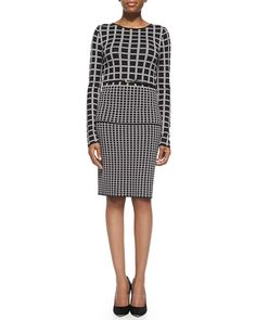 Carmen by Carmen Marc Valvo Double-Knit Jacquard Top & Slim Skirt