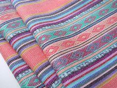 Aztec Fabric, Peruvian Fabric, Woven, Pale Pink Lima Stripes, 1 Yard