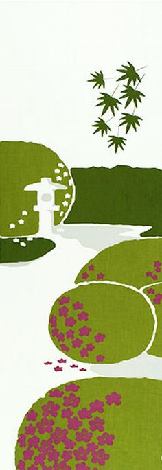 Japanese Tenugui Cotton Fabric, Hand Dyed Fabric, Japanese Style Traditional Garden & Azalea Flower, Wall Hanging Decor, Home Decor, JapanLovelyCrafts