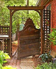 Repurposed headboard turned into a gate.. :) ♥