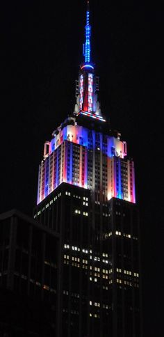 July Happy of July from the Empire State Building! Its world-famous lights glow in flourishes of red, white and blue to celebrate America's birthday. Photo by Dan O. Go To New York, New York City, Tower Light, Happy Fourth Of July, Make Beauty, City That Never Sleeps, Ny Times, Empire State Building, Nyc