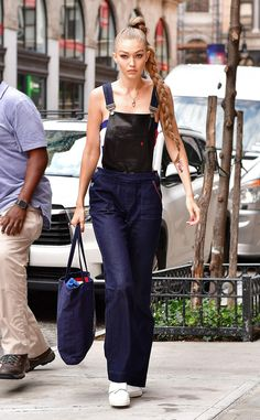 September 10 from Every Outfit Gigi Hadid Wore During Fashion Month Spring 2017  Note to self: You need two-toned overalls in your life (and Rapunzel hair).