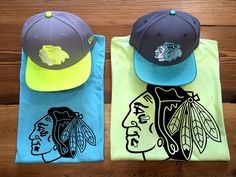 Anyone up for some neon? Check out our new #Blackhawks summer styles! (Sportique Blue Tee $45, 47 Brand Lime Tee $45, New Era Flash Snapbacks $35 each)