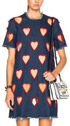 Cut-Out Heart Denim Tee-Dress