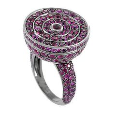 Shop for Poison Women's White Gold Ruby Pave Secret Ring. Get free delivery On EVERYTHING* Overstock - Your Online Jewelry Destination! Blue Wedding Rings, Heart Wedding Rings, Blue Rings, White Gold Rings, Green Wedding, Heart Ring, Rings Cool, Unique Rings, Poison Ring