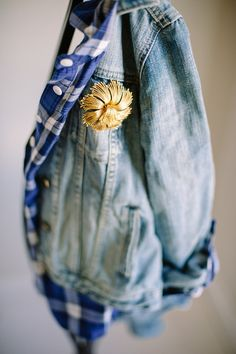 How to wear a vintage brooch on a denim jacket