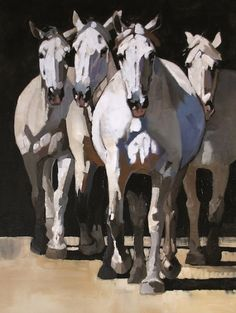 """""""Four Grey Horses"""" - Limited Editions - All Artwork - Peggy Judy 