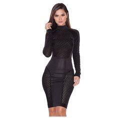 Clothing : Bodycon Dresses : 'Donatella' Black Stretch Devote and Crepe Dress Tight Dresses, Sexy Dresses, Sheath Dresses, Midi Dresses, Frack, New Arrival Dress, Bodycon Dress Parties, Party Dress, Black Bodycon Dress
