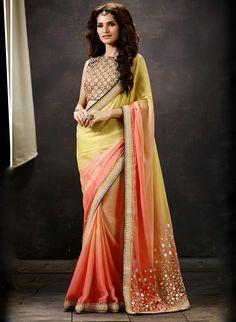 Designer Sarees online shopping in USA UK Canada|Buy Peach And Yellow Art Silk Saree