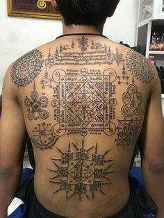 Khmer Tattoo, Thai Tattoo, Sak Yant Tattoo, Tattoo Designs, Tattoos, Thailand Tattoo, Tatuajes, Tattoo, Tattooed Guys