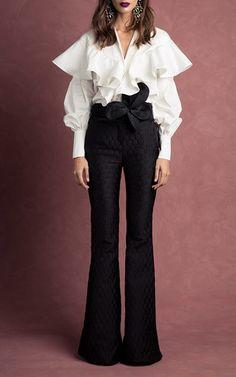 M'o Exclusive Ulysses Shirt by JOHANNA ORTIZ, блузка с воланами, белая блузка с воланами, нарядная блузка, блузка кармен, блузка оригинальная