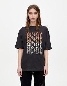 Leopard print AC/DC logo T-shirt - pull&bear