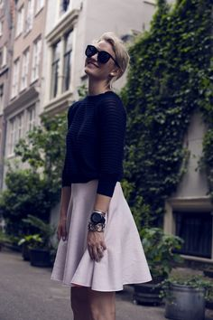 like the look of a full skirt and sweater. Classic, stylish ladylike silhouette