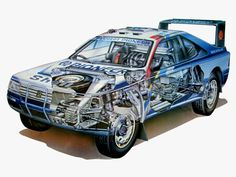 Peugeot 405 Turbo 16 is the legendary race car which earned two Dakar Rally victories for the French manufacturer in 1989 and Peugeot 405, Auto Peugeot, 3008 Peugeot, Cutaway, Rally Car, Car Car, Sport Cars, Race Cars, Poster