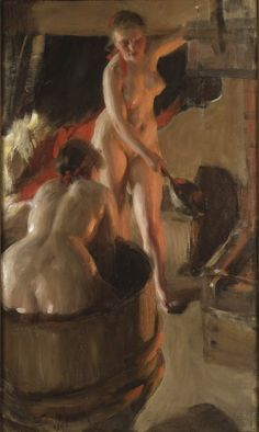 Girls from Dalarna Having a Bath (Anders Zorn) - Nationalmuseum - 18642 - Bathing - Wikipedia Wall Art Prints, Fine Art Prints, Poster Prints, Canvas Prints, Traditional Paintings, Canvas Paper, Triptych, Figure Painting, Artist Art
