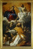 Le Couronnement de la Vierge avec saint Augustin et saint Guillaume d'Aquitaine  Vers 1616 Giovanni LANFRANCO (Parme, 1582 - Rome, 1647) H. : 2,20 m. ; L. : 1,44 m.  Collection de Louis XIV (acquis en 1671)
