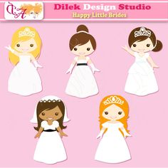 Dilek Happy Little Brides clipart perfect for your craft project, scrapbooking, invitation, web design, paper product, design card and everything else.  Great for cute announcements web store fronts, blog design or simple enough for embroidery