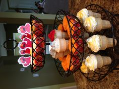 Cupcakes! Use a fruit stand instead of a cupcake holder for more bang for your buck!