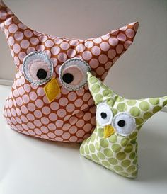 Owl softie bookends.  Don't love these owls, but plan to use the concept!