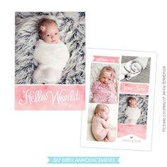 Birth announcement template Sweet Jane E760 por birdesign
