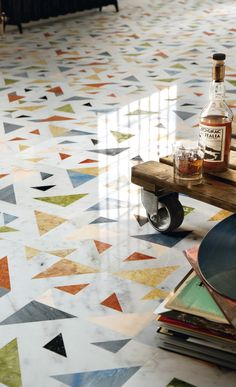 "With the comeback of the traditional terrazzo, showed as one of the most important trends of 2018, our allegro feature wall and floor design traces a strong and decorative connection between tradition and innovation, merging the craftsmanship of terrazzo with the preciousness of inlay design. From the ""Opus"" collection."