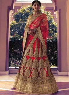 Red Embroidery Zari Work Stone Work Lace Border Net Party Wear Lehenga Choli        #LEHENGA #Choli #Wedding #Bridal       http://www.angelnx.com/Lehenga Choli