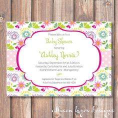 Bright Floral Garden Printable Invitation by AllisonKizerDesigns