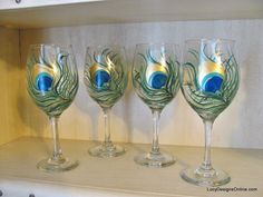 Hand Painted Peacock Feather Wine Glasses Tutorial, DIY Painted Wine Glasses