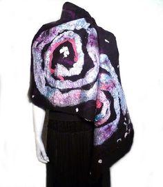 Felt Shawl NEBULA Mulberry Silk Very Soft by FearlessFiberworks, $85.00