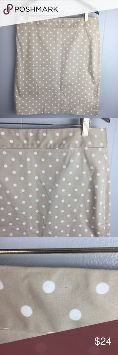 "J. Crew Factory khaki polka dot pencil skirt 14 Khaki pencil skirt with white polka dots. Stretch. Waist 18"" length 23"" J. Crew Factory Skirts Pencil"