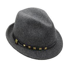 Mechaly Women's Heather Grey Studded Fedora Hat