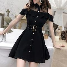 Yilda Mesh Panel Short-Sleeve A-Line Dress Teen Fashion Outfits, Edgy Outfits, Korean Outfits, Mode Outfits, Cute Casual Outfits, Cute Fashion, Pretty Outfits, Pretty Dresses, Girl Outfits