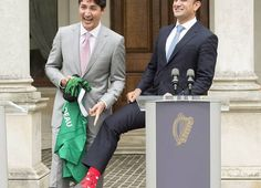 Ireland's prime minister welcomed Prime Minister Justin Trudeau with a handshake and a warm smile Tuesday while sporting a pair of Canadian-themed socks.Irish Taoiseach (prime minister), Leo Varadkar was wearing socks with maple leaves and Mounties. Justin Trudeau, The Republic, Top Photo, Current Events, Presidents, Irish, Leo, Maple Leaves, Prime Minister