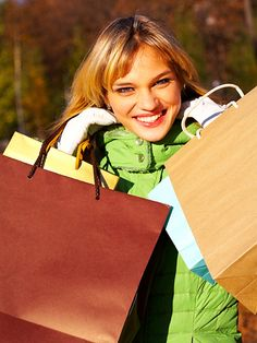 a young woman shopping at outlet stores